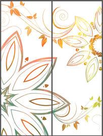 简洁艺术花纹移门图案 PSD