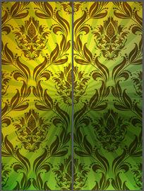 绿色放射背景花纹移门设计 PSD