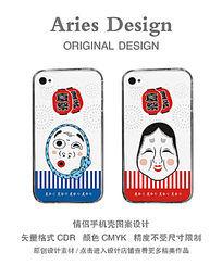 情侣手机壳图案CDR夏祭面具