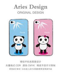情侣手机壳图案CDR熊猫情侣 CDR