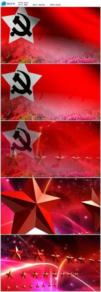 党旗飘飘映山红视频素材