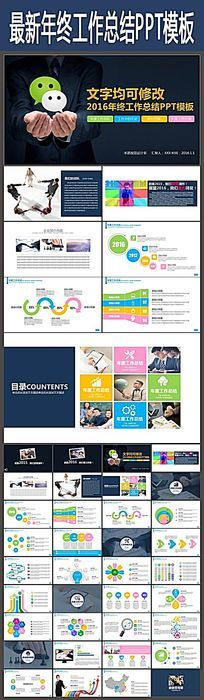 大气微信公众平台营销报告PPT模板