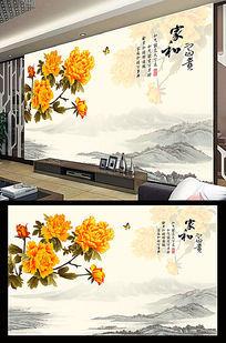 家和富贵牡丹花中式电视背景墙