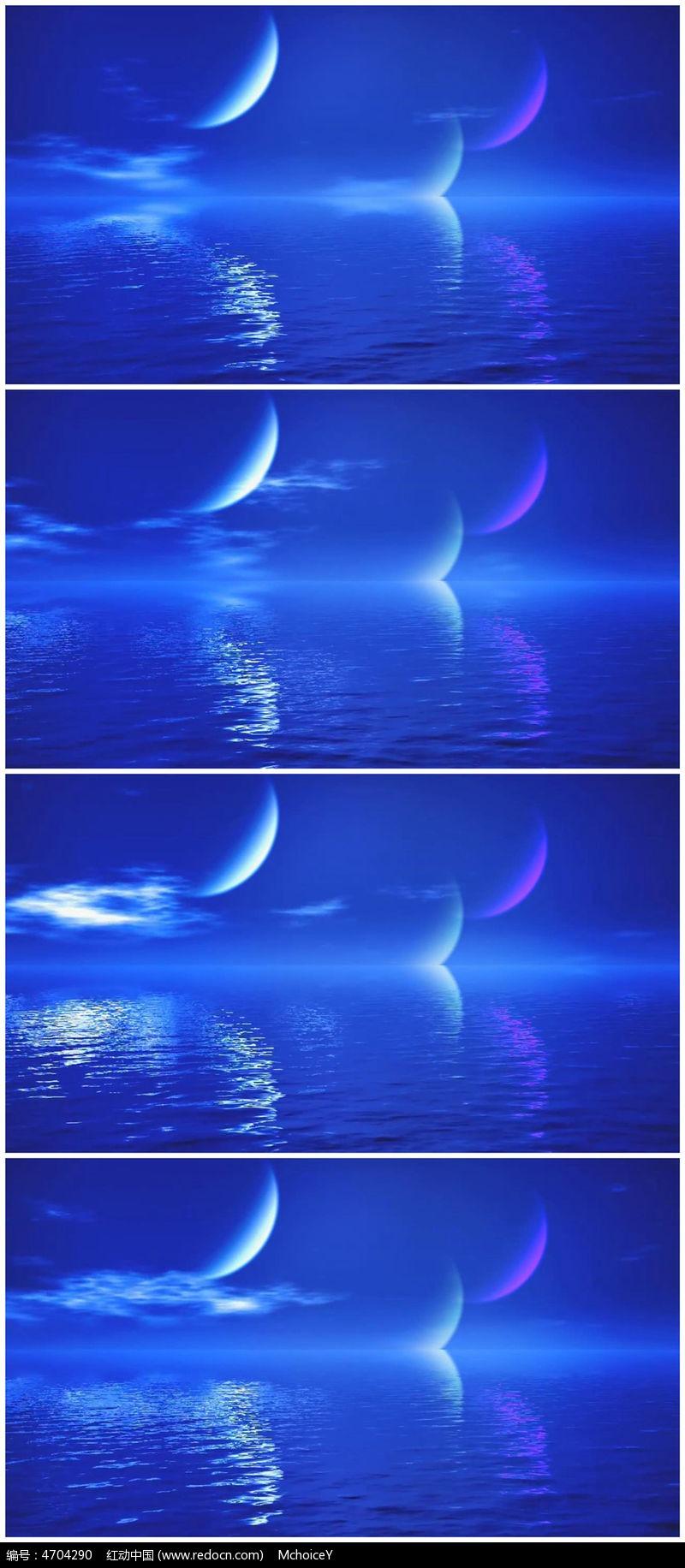 蓝色月亮湖面倒影视频素材