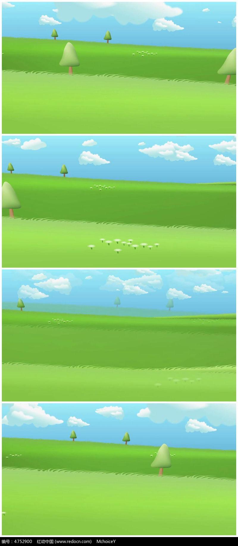 蓝天绿草卡通可爱视频素材