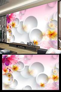 3D圆圈花纹浪漫电视背景墙