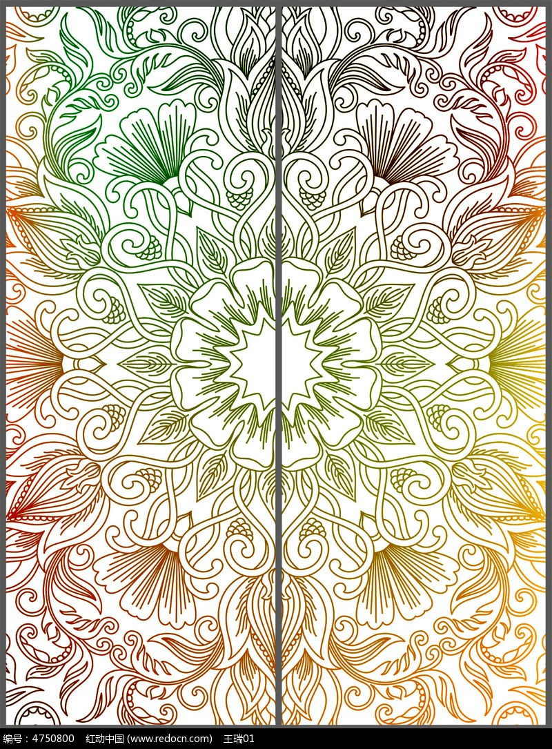 古典花纹移门设计 psd图片