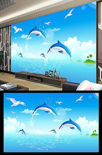 海洋世界手绘卡通电视背景墙