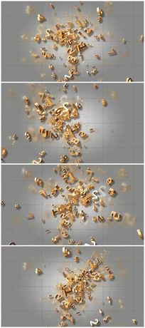 金色3d数字视频素材