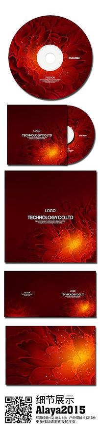红色花朵光盘封套设计