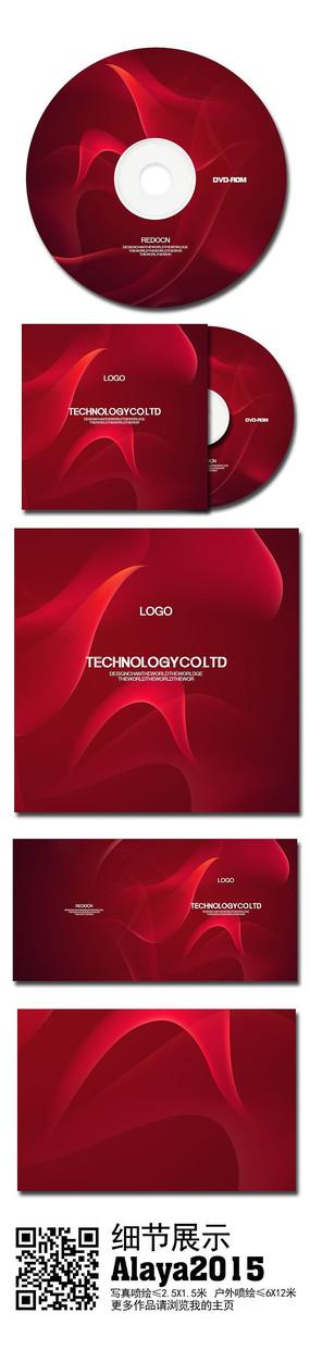 红色烟雾企业光盘模板
