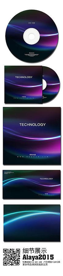时尚曲线科技光盘封面模板