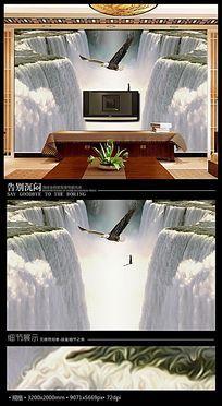 大鹏展翅流水瀑布电视背景墙