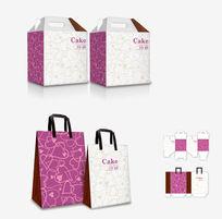 粉色爱心底纹包装盒设计模板