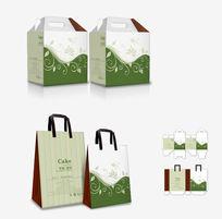 简约绿色花纹包装盒设计