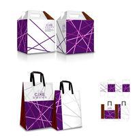 简约紫色包装手提盒模板