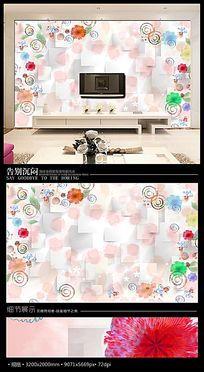 浪漫手绘卡通墨点3D儿童房背景墙