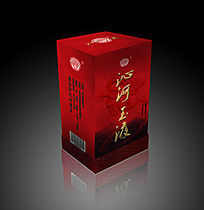 红色古典酒盒包装设计效果图