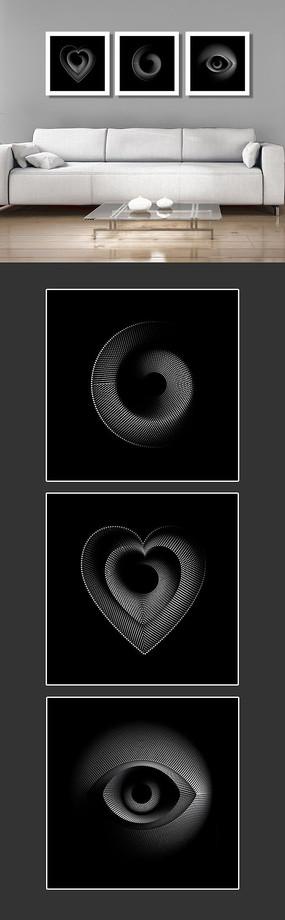 简约时尚黑白几何图形无框画