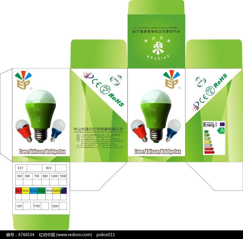 绿色灯泡包装盒设计图片