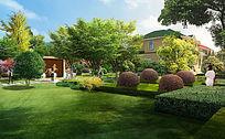 一个欧式跑马场庭院的景观设计效果图 PSD