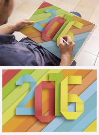 2016彩色折纸字体设计 EPS