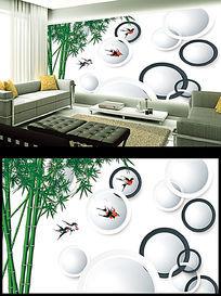 3D立体竹子电视背景墙
