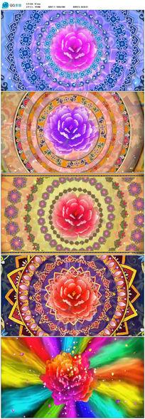 富贵牡丹鲜花万花筒高清舞蹈背景视频素材