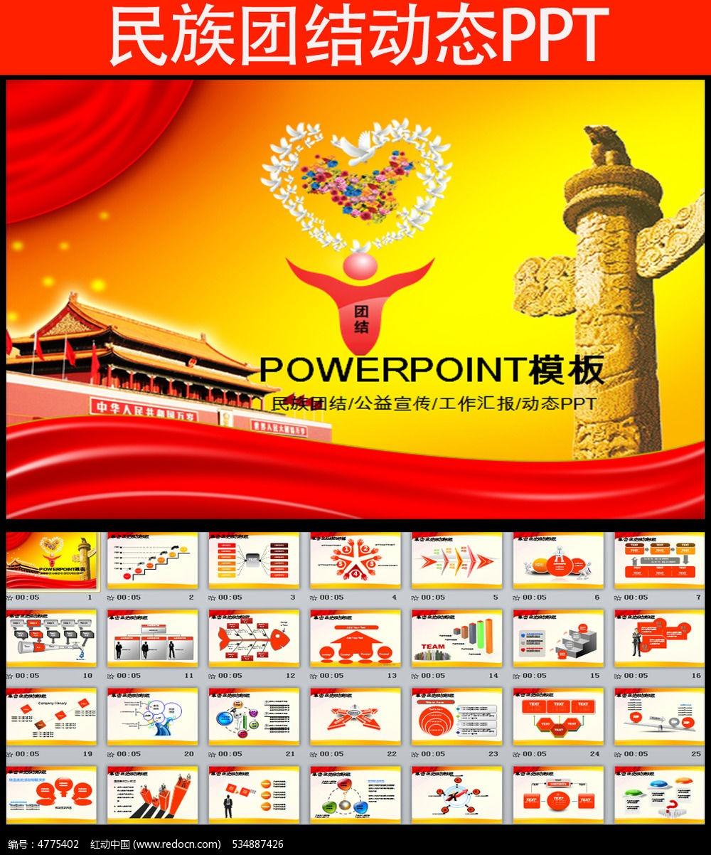 民族团结教育宣传公益会议ppt模板