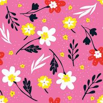 粉色背景花型壁纸设计模板