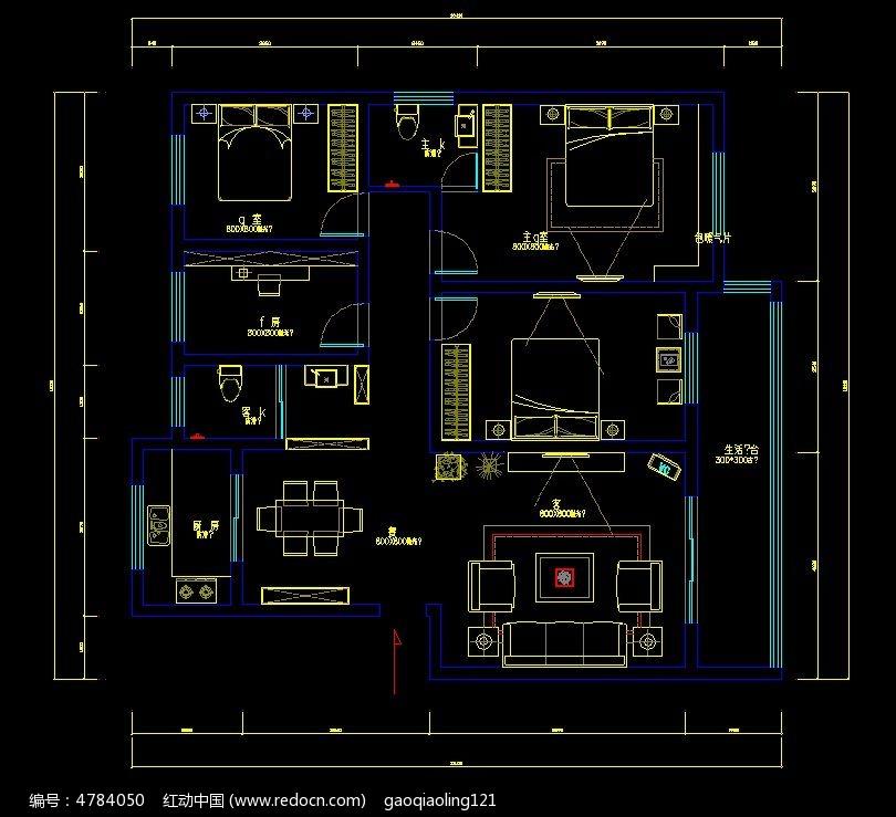 家装大三室cad平面设计图纸