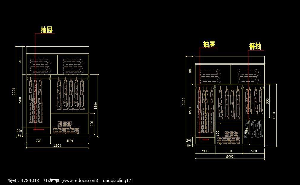 10款 衣柜施工CAD图纸