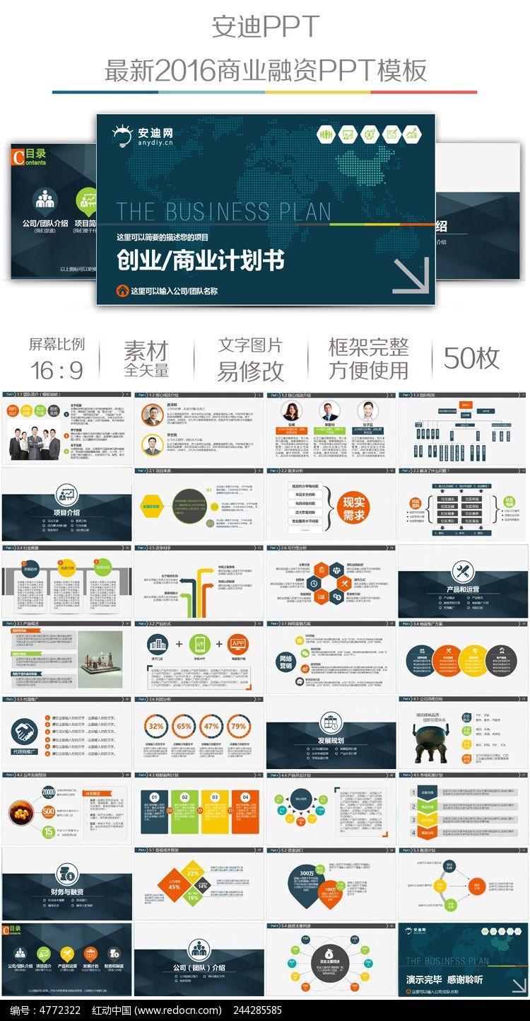 公司简介路演创业商业融资计划书ppt模板