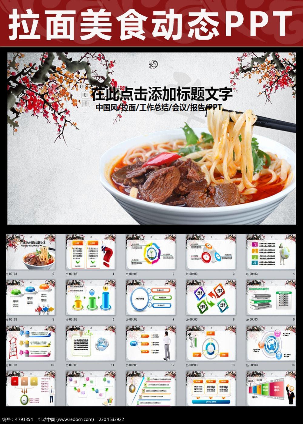 中国风拉面美食ppt动态模板
