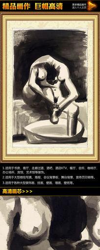 毕加索《洗脚的女人》名画装饰图