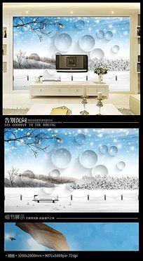 冬天雪景3D背景墙