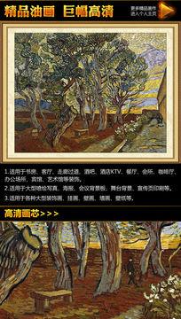 梵高《医院的庭园》油画装饰图
