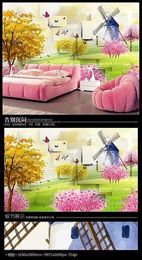 手绘桃花风车儿童房3D背景墙
