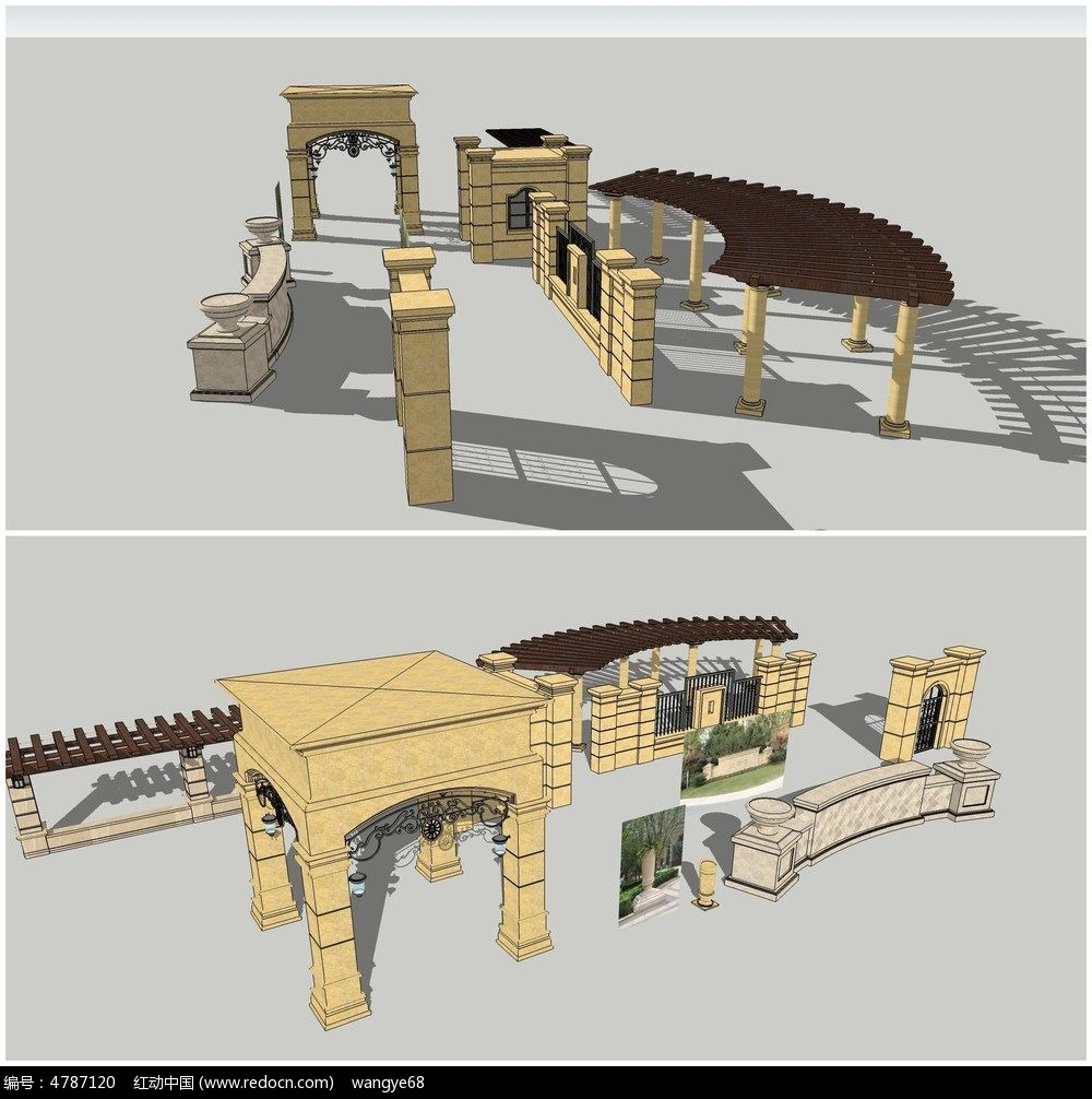 欧式小区大门sketchup建筑景观模型