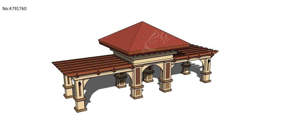 现代欧式廊架su模型