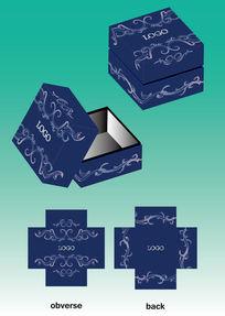 深蓝古典花纹包装盒