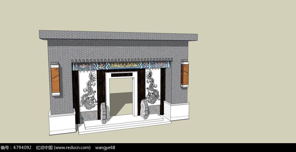 欧式景墙3d模型下载