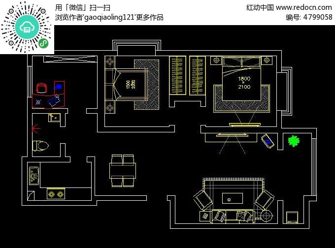 小户型装修设计布置图纸cad素材下载_室内装修设计图片