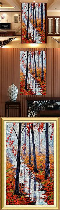 抽象油画风景玄关背景墙