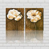 白色花朵版画装饰画