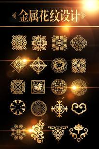 传统金属金色花纹图案设计