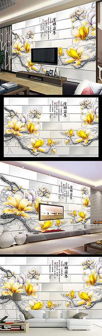 9款 高清花开富贵浮雕手绘电视背景墙