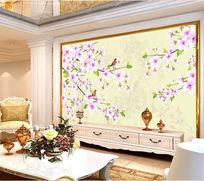 古典花卉电视背景墙