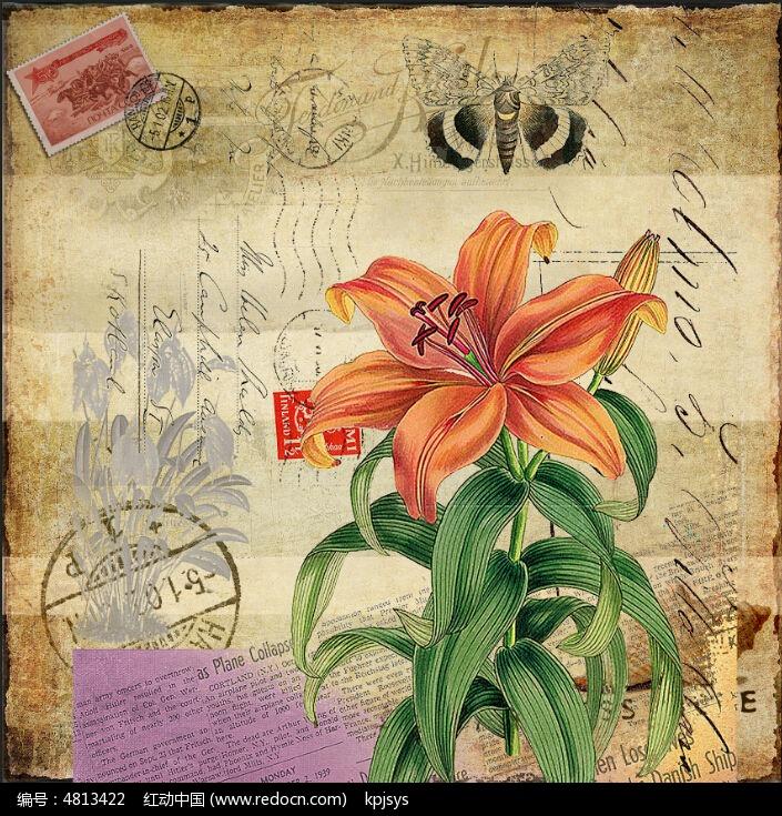 海棠花欧美复古风格装饰画设计