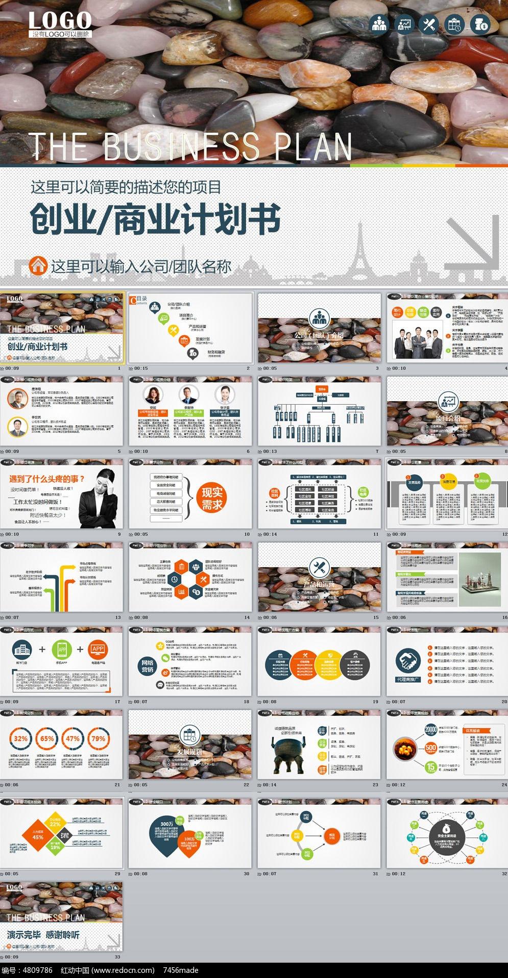 精美框架完整的商业计划书动态ppt